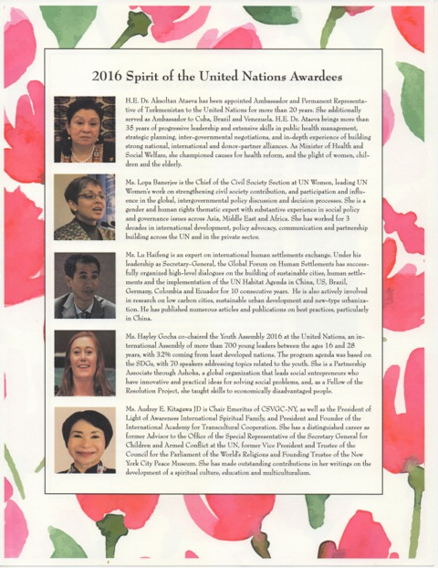 Spirit of the UN  Awardees